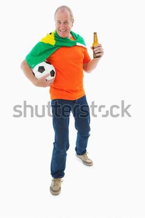 Volwassen man oranje tshirt voetbal bier Stockfoto © wavebreak_media
