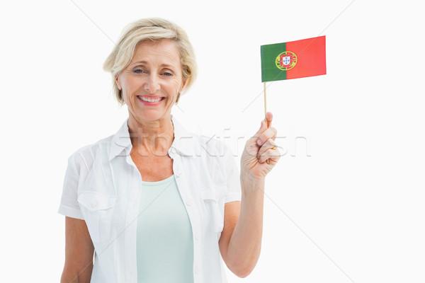 Gelukkig rijpe vrouw Portugal vlag witte Stockfoto © wavebreak_media
