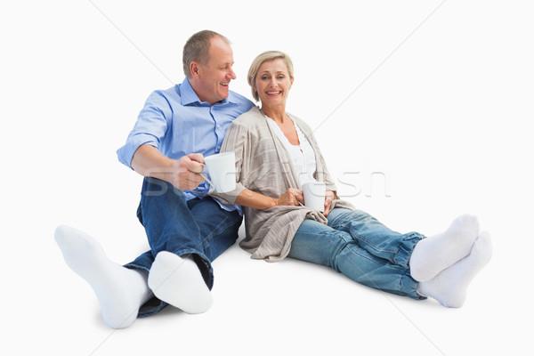 счастливым зрелый пару кофе белый чай Сток-фото © wavebreak_media