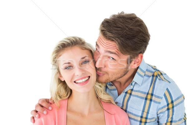 Jóképű férfi csók barátnő arc fehér férfi Stock fotó © wavebreak_media