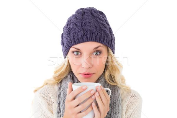 Mooie blond winter mode mok Stockfoto © wavebreak_media