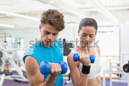 Stok fotoğraf: Personal · trainer · yardım · müşteri · asansör · spor · salonu