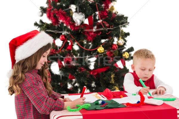 ünnepi kicsi testvérek rajz képek fehér Stock fotó © wavebreak_media