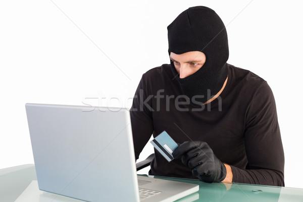 泥棒 ショッピング を ノートパソコン 白 コンピュータ ストックフォト © wavebreak_media