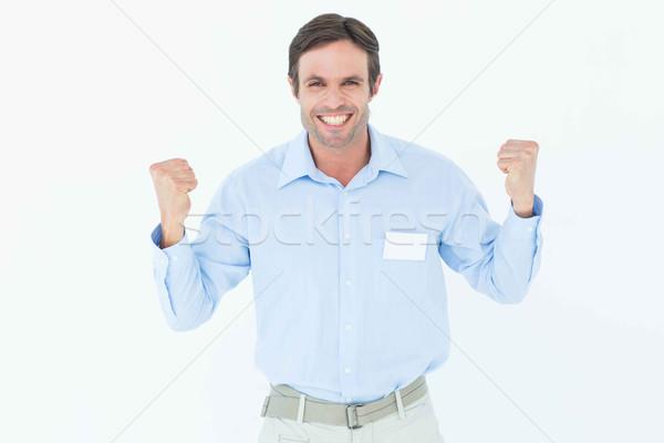 счастливым бизнесмен победу портрет белый Сток-фото © wavebreak_media
