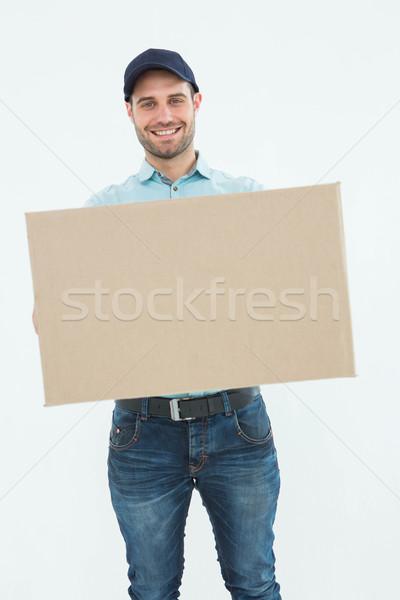 Stock foto: Kurier · Mann · tragen · Karton · Porträt · glücklich