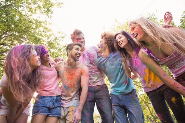 Mutlu arkadaşlar kapalı toz boya Stok fotoğraf © wavebreak_media