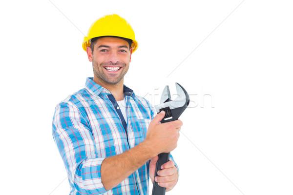 портрет улыбаясь мастер на все руки регулируемый гаечный ключ Сток-фото © wavebreak_media