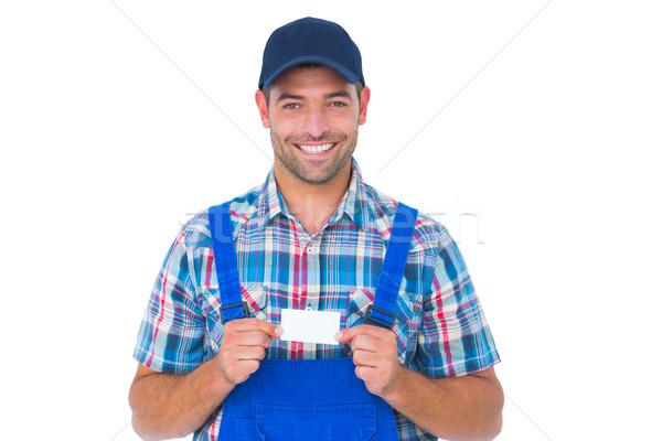 Retrato feliz manitas tarjeta blanco Foto stock © wavebreak_media