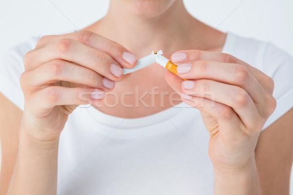 Kadın sigara beyaz duman ölüm sigara içme Stok fotoğraf © wavebreak_media