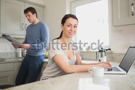 Friseur Kreditkarte Karte Leser Mann glücklich Stock foto © wavebreak_media