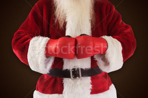 Obraz Święty mikołaj rękawice bokserskie ciemne brązowy Zdjęcia stock © wavebreak_media
