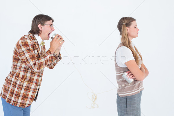 Geeky hipsters using string phone  Stock photo © wavebreak_media