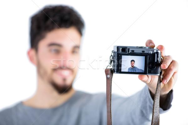 Stockfoto: Toevallig · man · shot · studio · gelukkig