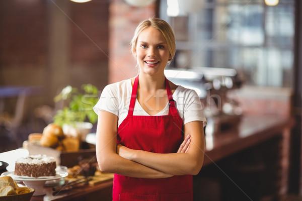 Joli barista regarder caméra portrait Photo stock © wavebreak_media
