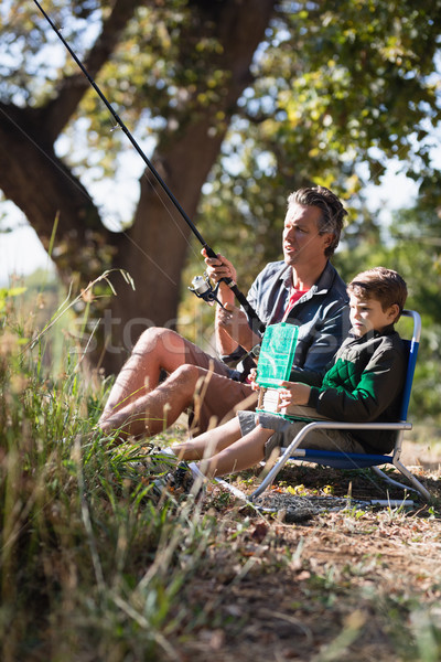 Father and son fishing in forest Stock photo © wavebreak_media