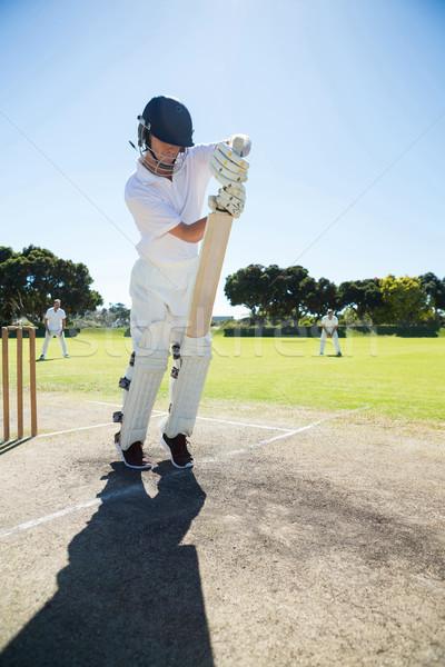 Full length of batsman standing on pitch Stock photo © wavebreak_media