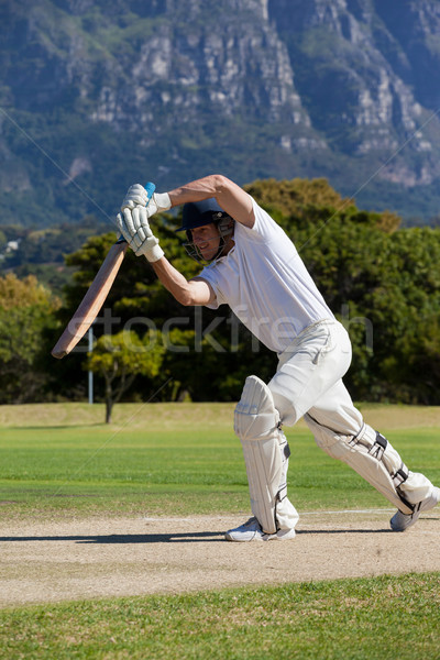 Cricket player playing on field during sunny day Stock photo © wavebreak_media