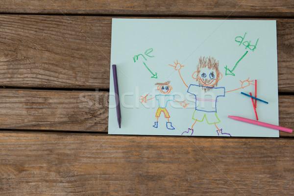 Gün tebrik kartı boya kalemleri ahşap masa görmek Stok fotoğraf © wavebreak_media