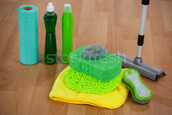 Various housekeeping supplies on wooden floor Stock photo © wavebreak_media