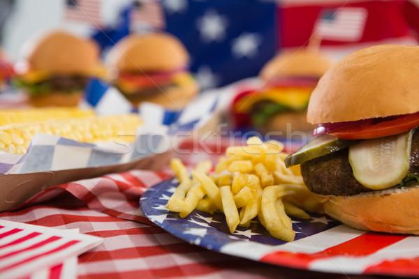 Hamburger and french fries on plate Stock photo © wavebreak_media