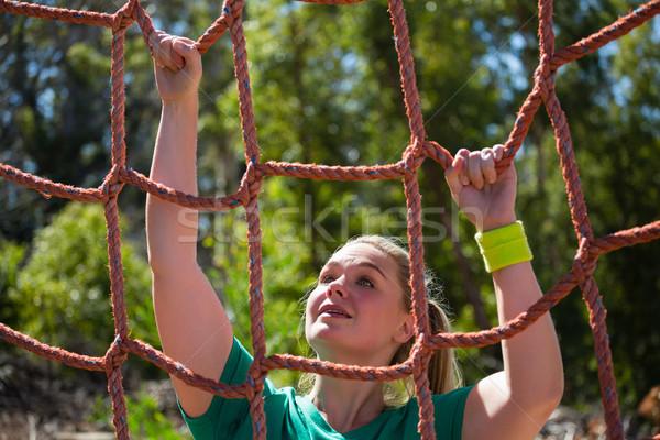 Kobieta wspinaczki netto szkolenia Zdjęcia stock © wavebreak_media
