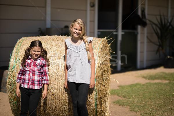 Testvérek dől széna farm portré mosolyog Stock fotó © wavebreak_media