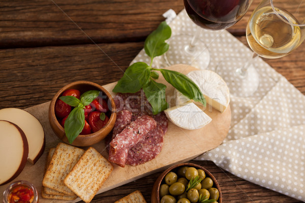 Photo stock: Vue · olives · viande · vin · fruits · verre
