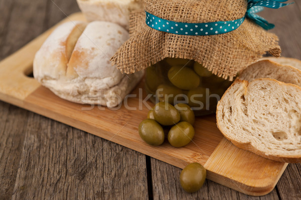 Close up of olives by bread Stock photo © wavebreak_media