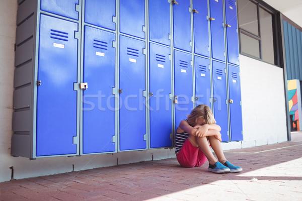 школьница сидят коридор тротуар школы Сток-фото © wavebreak_media