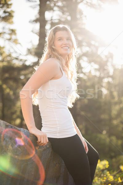 молодые счастливым бегун трусцой рок природы Сток-фото © wavebreak_media