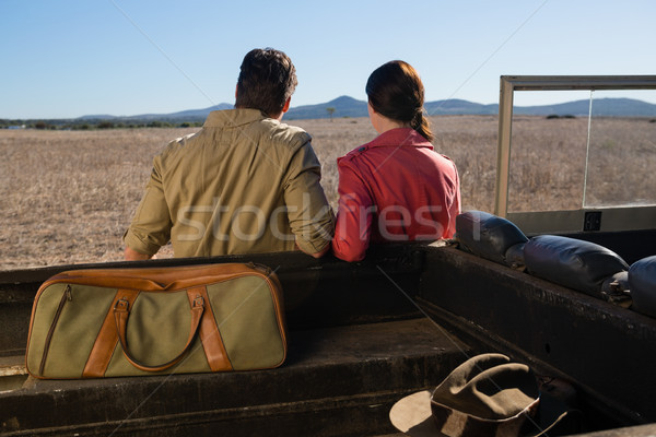 Rear view of couple by off road vehicle looking at landscape Stock photo © wavebreak_media