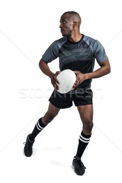 Rugby jugador pelota ejecutando blanco deporte Foto stock © wavebreak_media