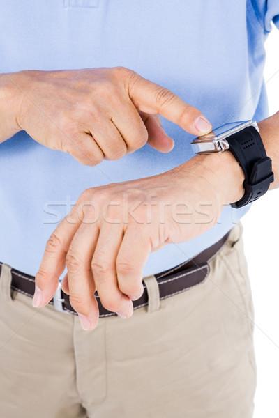 Close up of a mans smartwatch Stock photo © wavebreak_media