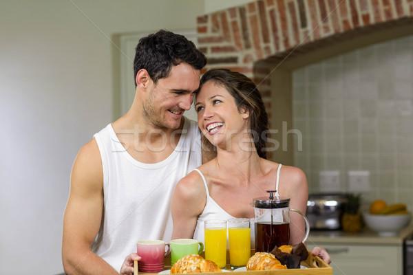 Boldog pár tart tálca reggeli konyha Stock fotó © wavebreak_media