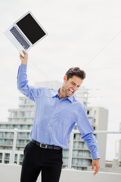 Frustrado empresário laptop escritório terraço Foto stock © wavebreak_media