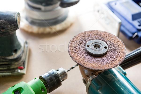Tools uitrusting gebruikt timmerwerk stoffig workshop Stockfoto © wavebreak_media