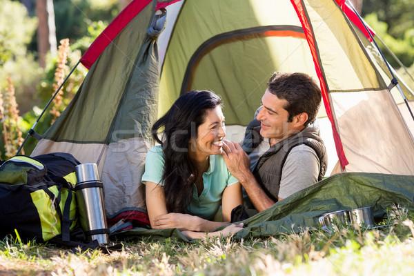 пару улыбаясь палатки дерево человека Сток-фото © wavebreak_media