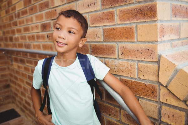 Sorridere scolaro muro di mattoni bambino bag Foto d'archivio © wavebreak_media