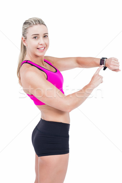 Vrouwelijke atleet smart horloge witte vrouw Stockfoto © wavebreak_media