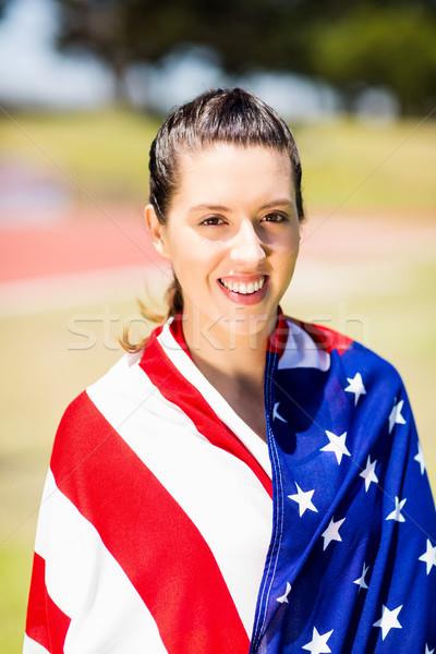 Női atléta amerikai zászló portré győzelem nő Stock fotó © wavebreak_media