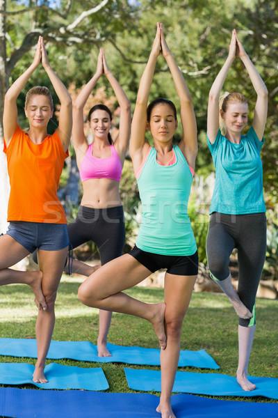 Women practicing yoga Stock photo © wavebreak_media