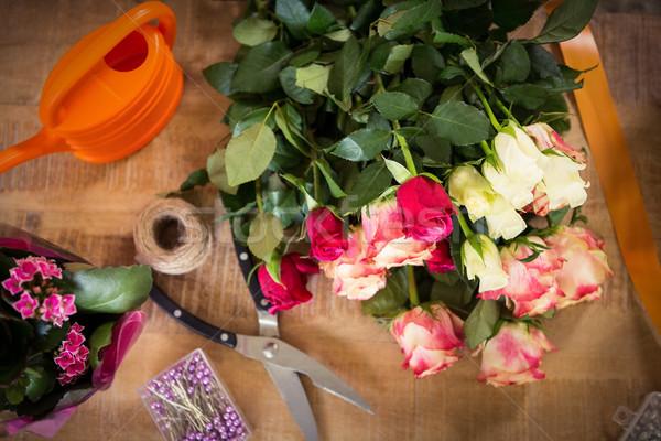 Boeket bloem materiaal houten business Stockfoto © wavebreak_media