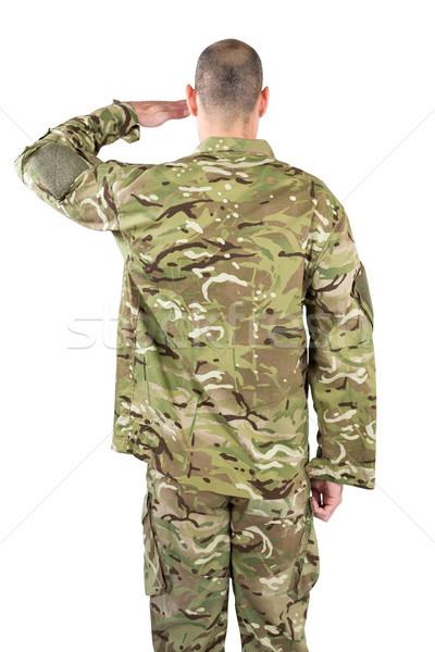 Widok z tyłu żołnierz człowiek szczęśliwy bezpieczeństwa wojny Zdjęcia stock © wavebreak_media