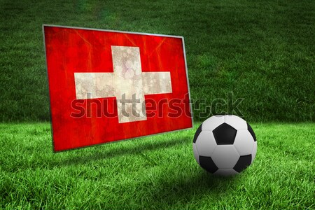 Football in swiss colours against closed up view of grass Stock photo © wavebreak_media