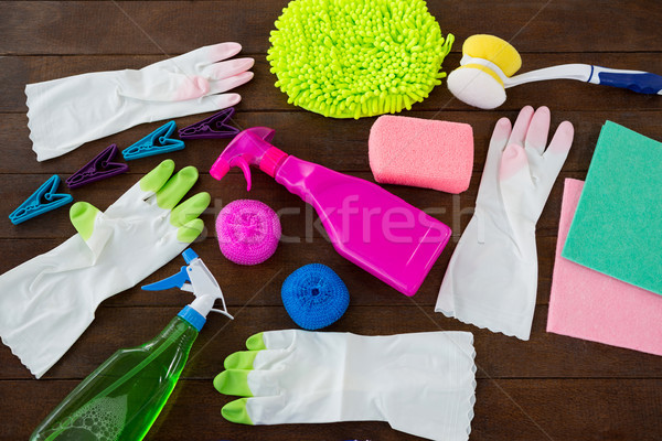 High angle view of cleaning products on table Stock photo © wavebreak_media