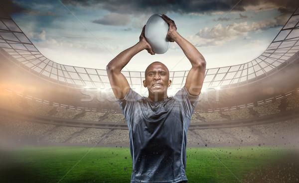 összetett kép határozott sportoló dob rögbilabda Stock fotó © wavebreak_media
