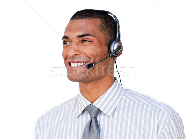 Atendimento ao cliente agente fone isolado branco escritório Foto stock © wavebreak_media