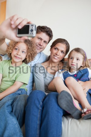 Izgatott család ünnepel gól nappali nő Stock fotó © wavebreak_media