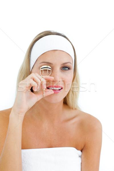 Mujer atractiva de pestañas aislado blanco mujer nina Foto stock © wavebreak_media